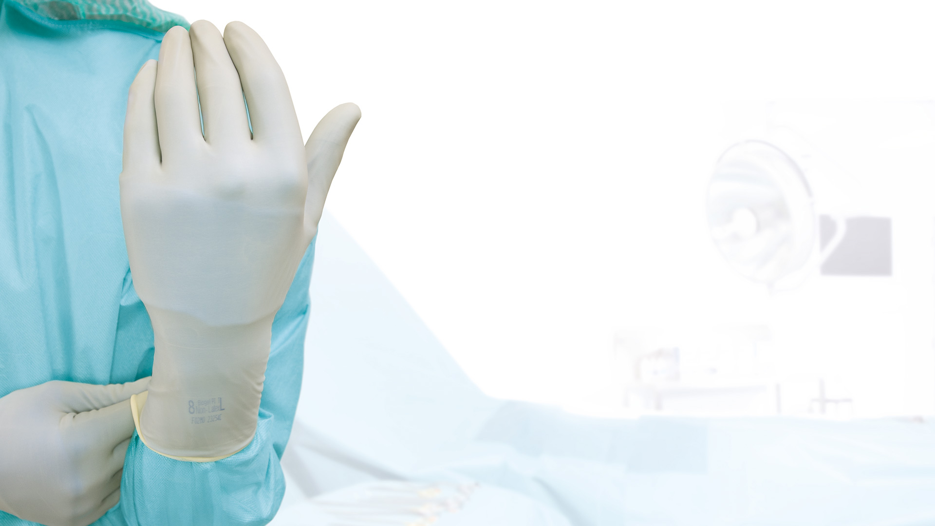 Healthcare professional wearing Biogel synthetic gloves